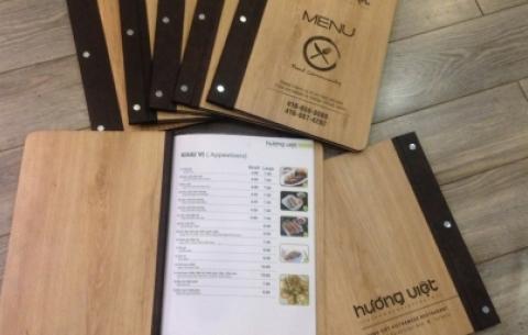 2/  nhà hàng Hương Việt ở Toronto - Canada/ Thiết kế và làm quyển menu bìa gỗ