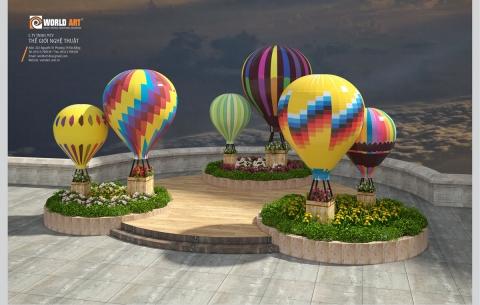 4/ Tiểu cảnh khinh khí cầu/ Thi công lắp đặt tại khu quảng trường Bà Nà Hills