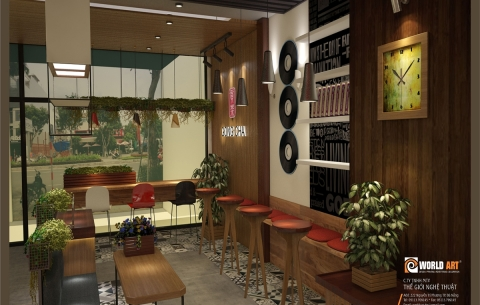 3/ Coffee Gong Cha/ Thiết kế cửa hàng trà sữa