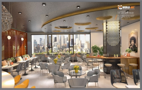 1/ Khách Sạn Grand Jeep/ Thiết kế phối cảnh 3D nhà hàng và top view của Khách sạn